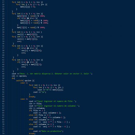 programacion en c++: matriz dispersa figura cuadrado