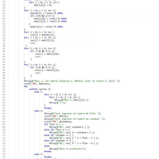 programacion en objective c: matriz dispersa figura cuadrado