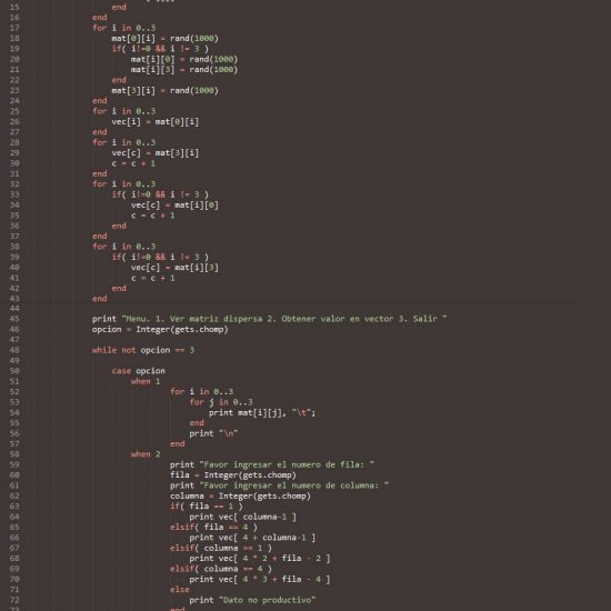 programacion en ruby: matriz dispersa figura cuadrado