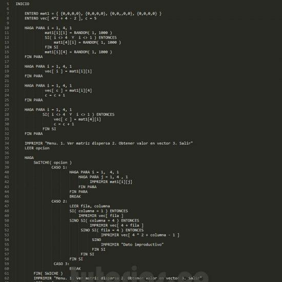 programacion en pseudocodigo: matriz dispersa figura u