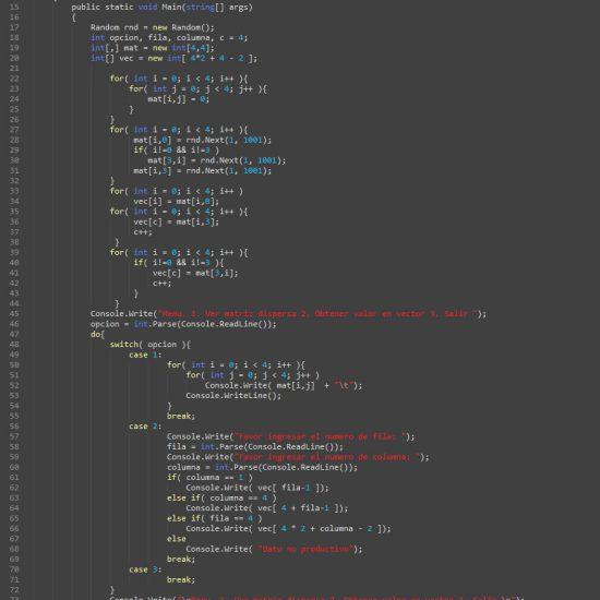 programacion en c#: matriz dispersa figura u