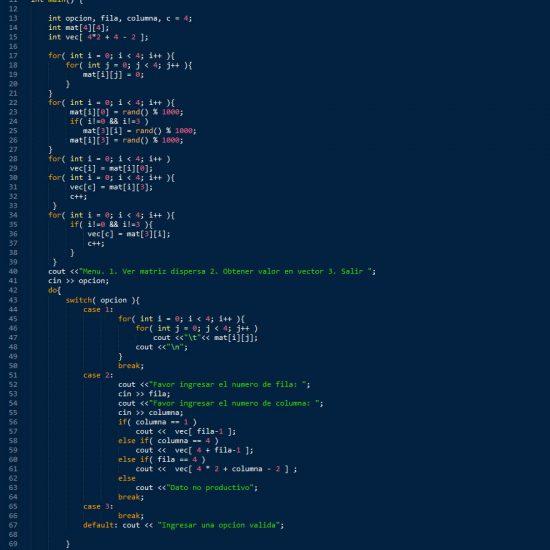 programacion en c++: matriz dispersa figura u
