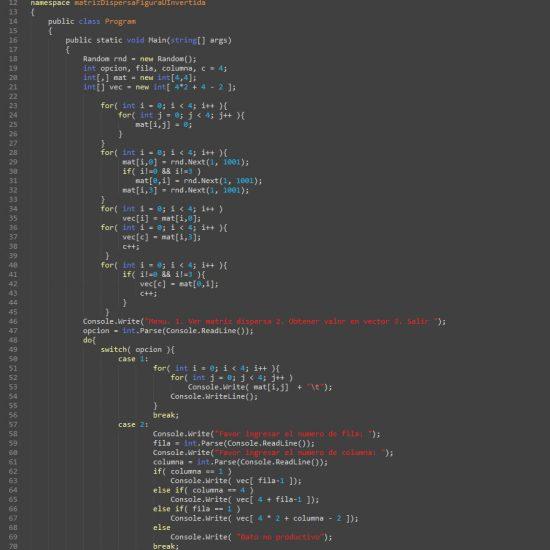 programacion en c#: matriz dispersa figura u invertida