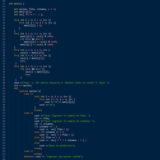 programacion en c++: matriz dispersa figura u invertida