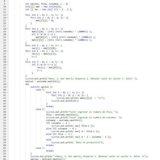 programacion en java: matriz dispersa figura u invertida