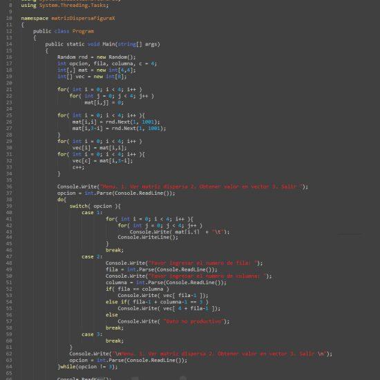 programacion en c#: matriz dispersa figura x