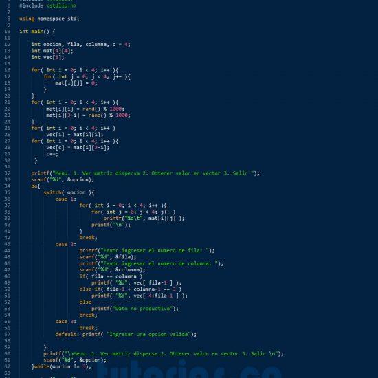 programacion en c++: matriz dispersa figura x