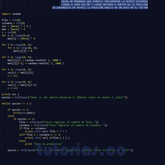 programacion en python: matriz dispersa figura x