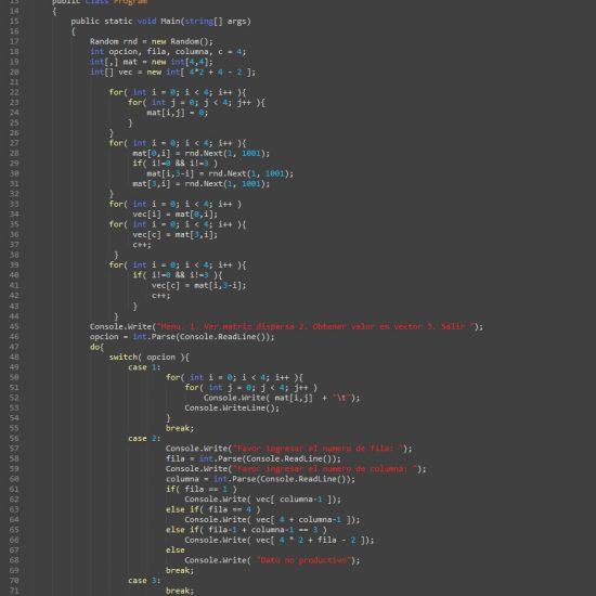 programacion en c#: matriz dispersa figura z