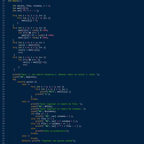 programacion en c++: matriz dispersa figura z