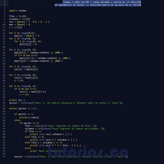 programacion en python: matriz dispersa figura z