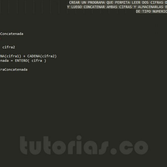 programacion en pseudocodigo: concatenar cifras
