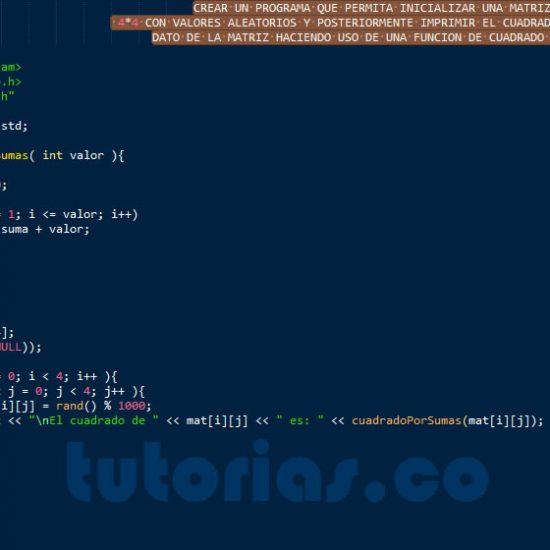 programacion en c++: cuadrado de una matriz por sumas