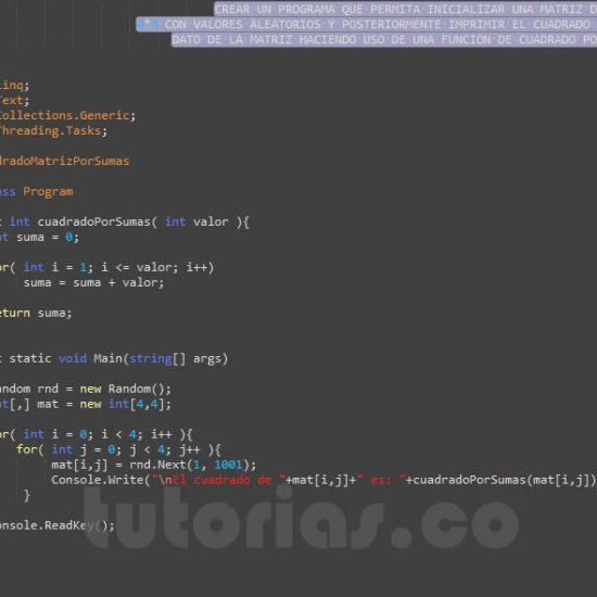 programacion en c#: cuadrado de una matriz por sumas