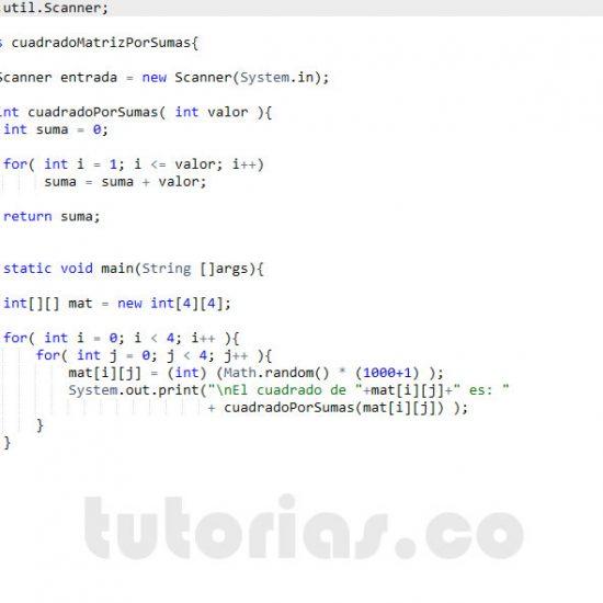 programacion en java: cuadrado de una matriz por sumas