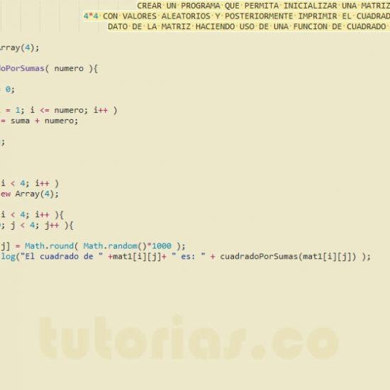 programacion en javascript: cuadrado de una matriz por sumas