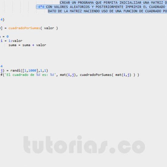 programacion en matlab: cuadrado de una matriz por sumas