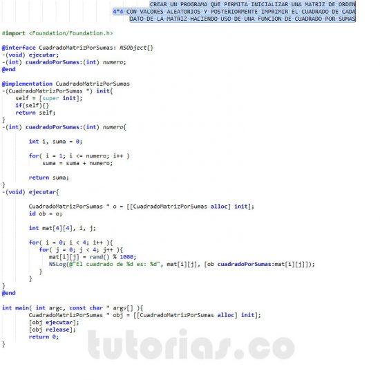 programacion en objective c: cuadrado de una matriz por sumas