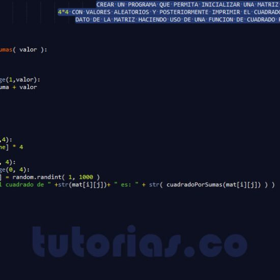 programacion en python: cuadrado de una matriz por sumas