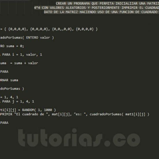 programacion en pseudocodigo: cuadrado de una matriz por sumas
