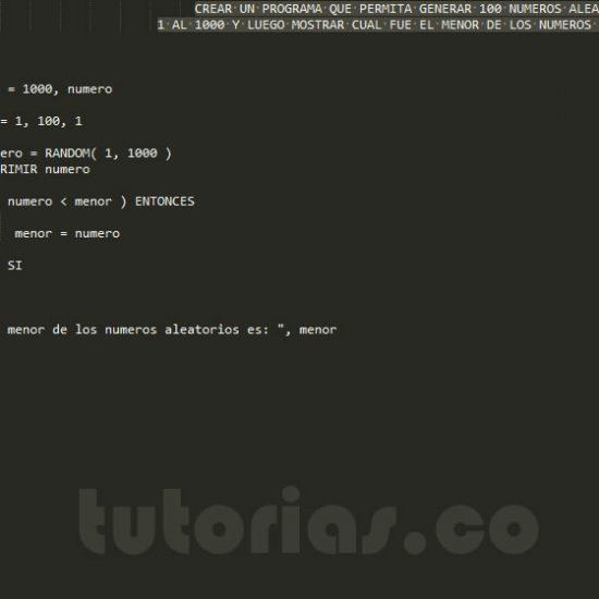 programacion en pseudocodigo: el menor de los numeros aleatorios