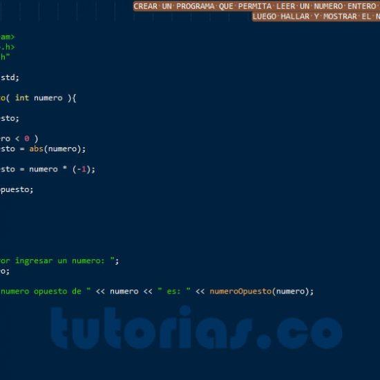 programacion en c++: el numero opuesto