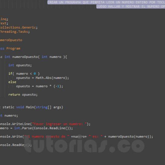 programacion en c#: el numero opuesto