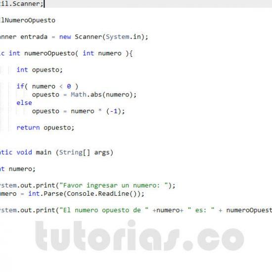 programacion en java: el numero opuesto