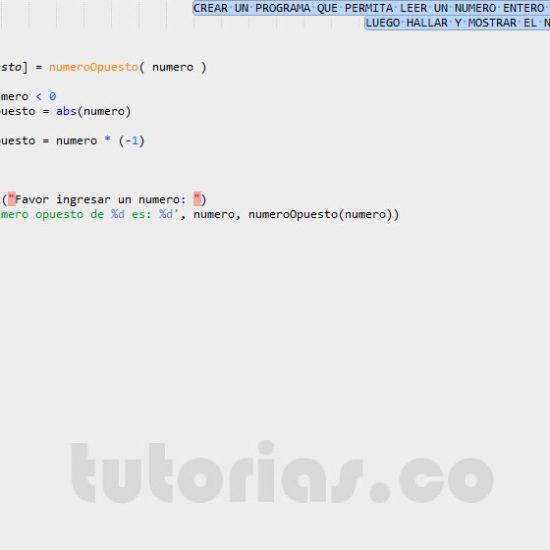 programacion en matlab: el numero opuesto