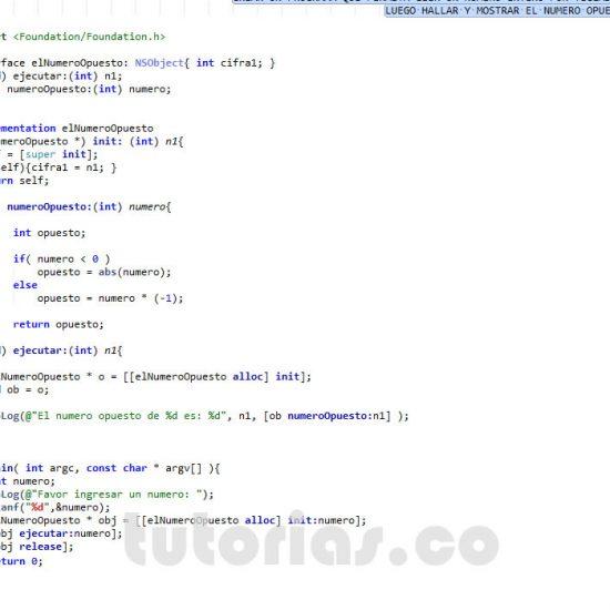 programacion en objective C: el numero opuesto