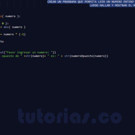 programacion en python: el numero opuesto