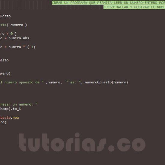 programacion en ruby: el numero opuesto