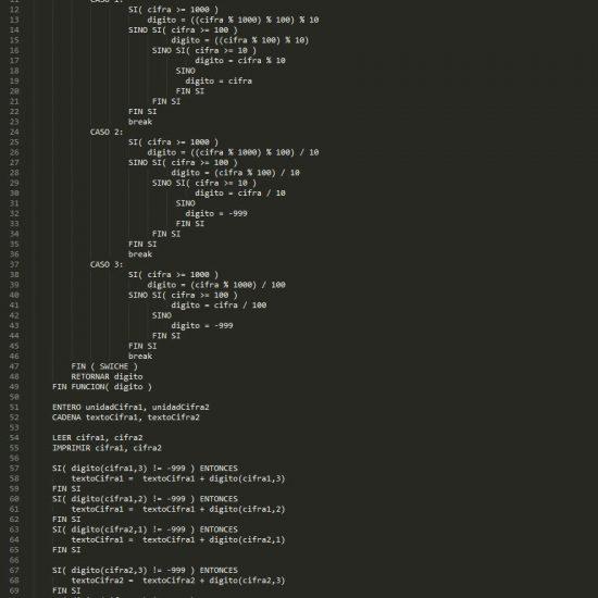programacion en pseudocodigo: intercambiar unidades