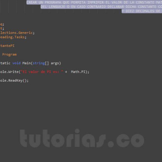 programacion en c#: la constante PI