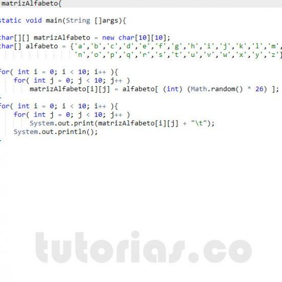 programacion en java: matriz alfabeto