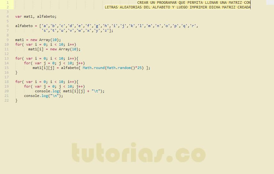 programacion en javascript: matriz alfabeto