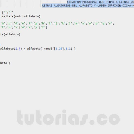 programacion en matlab: matriz alfabeto