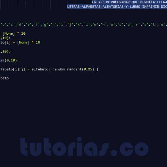 programacion en python: matriz alfabeto