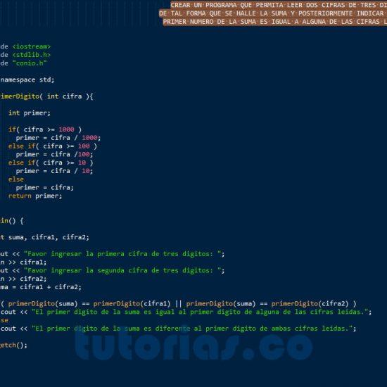 programacion en c++: primer digito de la suma