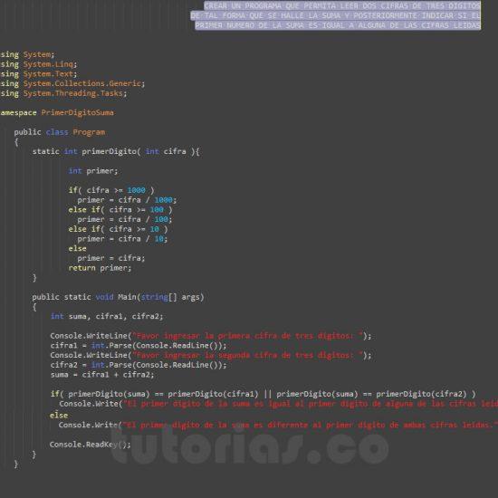 programacion en c#: primer digito de la suma