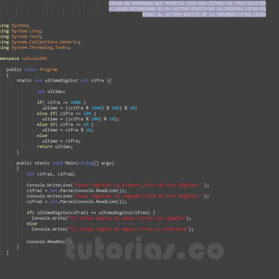 programacion en c#: ultimo digito de dos cifras