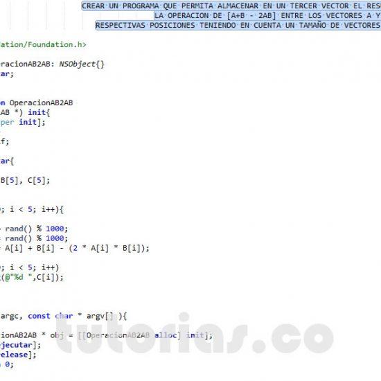 programacion en objective c: operacion entre vectores A+B-2AB