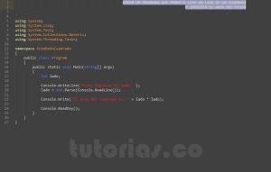 programacion en c#: area de un cuadrado