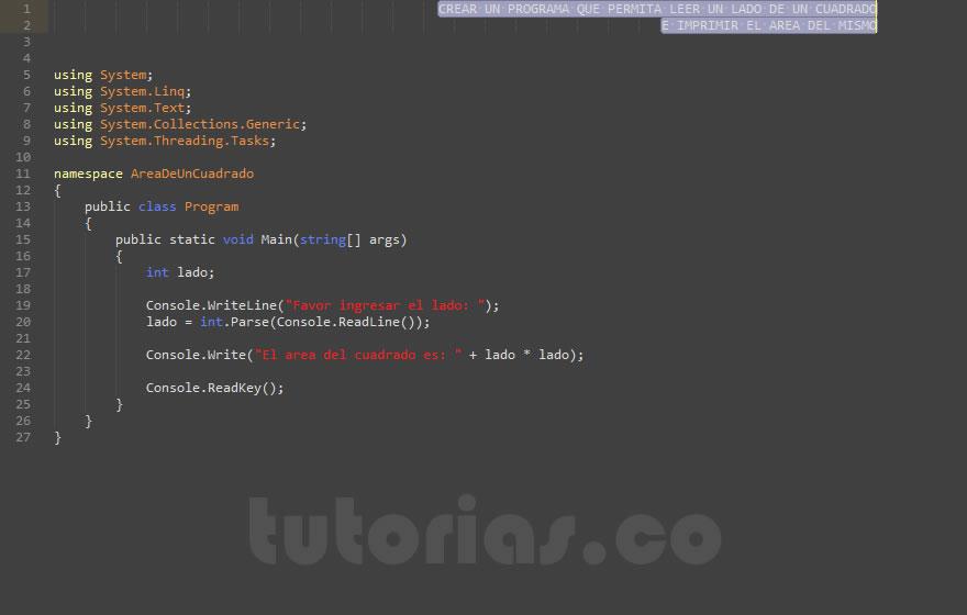operadores – visualStudio c# (area de un cuadrado)