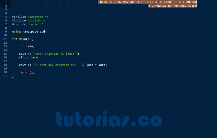 operadores – visual C++ (area de un cuadrado)
