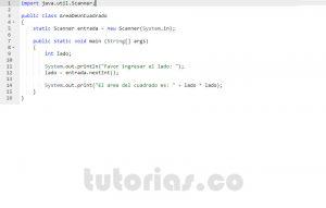 programacion en java: area de un cuadrado