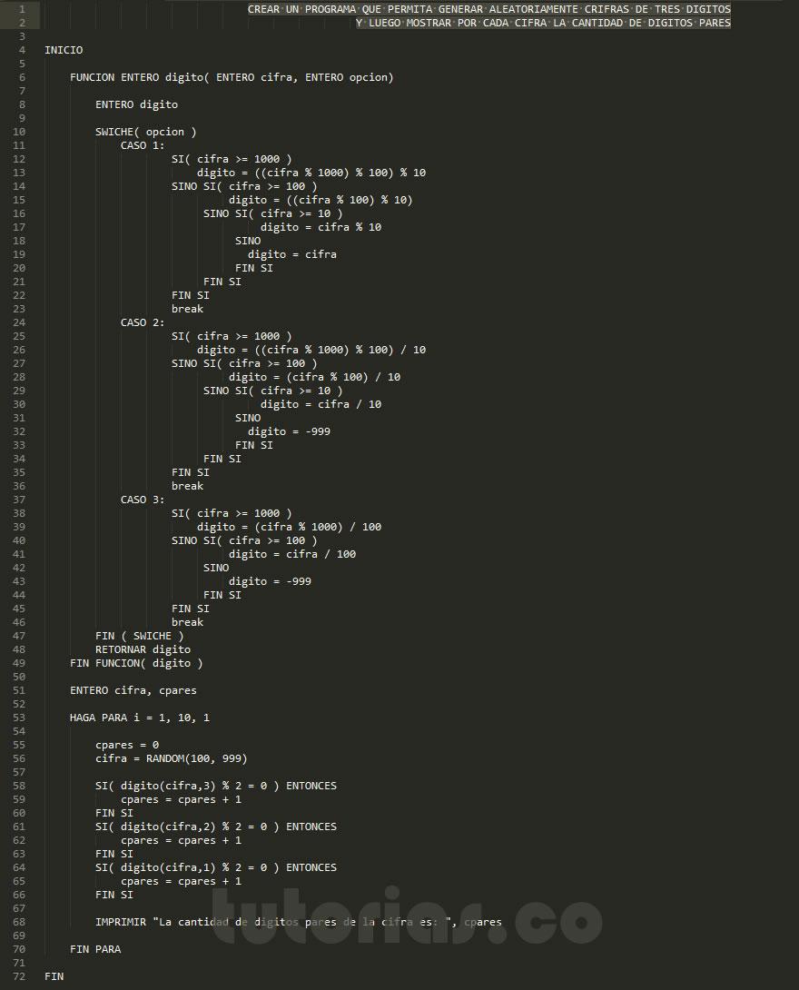 funciones – pseudocodigo (cantidad de digitos pares de una cifra)