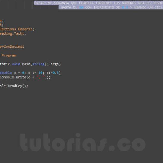 programacion en c#: ciclo for con decimal