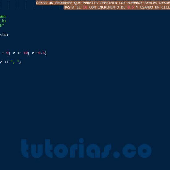 programacion en C++: ciclo for con decimal