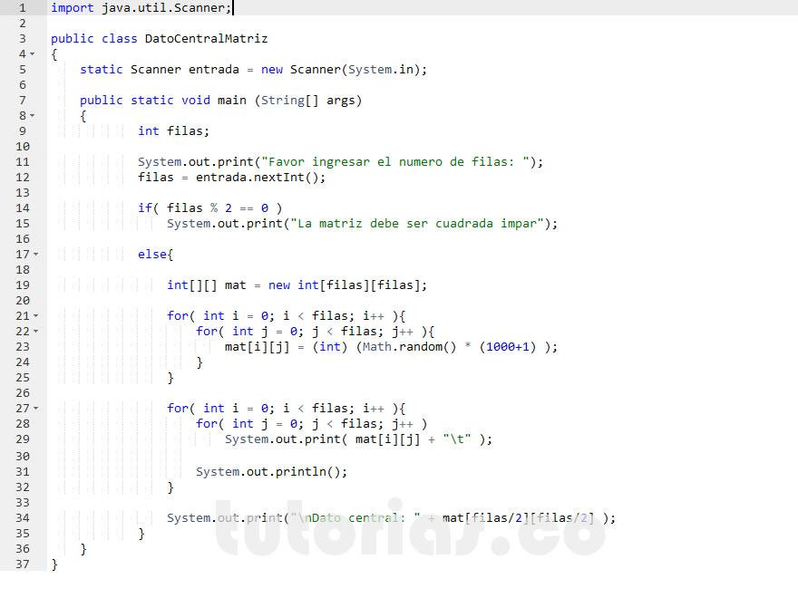 programacion en java: imprimir dato central de una matriz